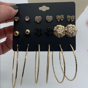 NEW Pack of 9 Gold Earrings Mixed Studs/Hoops